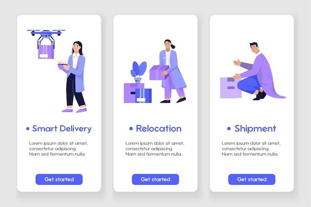 Diseño de plantilla para página de aplicación móvil con concepto de entrega y reubicación