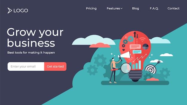 Diseño de plantilla de página de aterrizaje de ilustración de vector de personas pequeñas planas de marketing