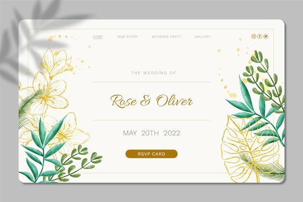 Diseño de plantilla de página de destino de boda floral