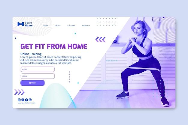 Diseño de plantilla de página de destino de deporte en casa