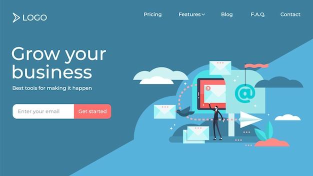 Diseño de plantilla de página de destino de ilustración de vector de persona pequeña plana de marketing por correo electrónico