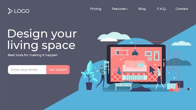 Diseño de plantilla de página de destino de ilustración de vector de personas pequeñas planas interiores