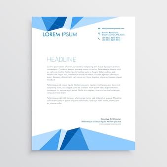 Diseño de plantilla de papel con membrete geométrico azul