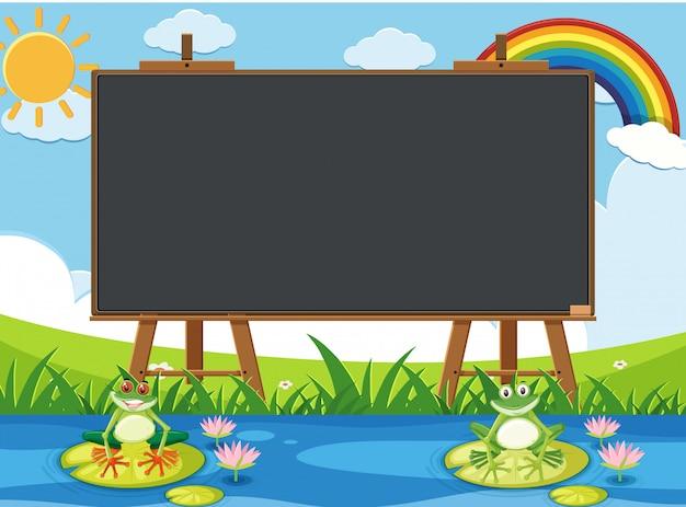 Diseño de plantilla de pizarra con dos ranas en el estanque