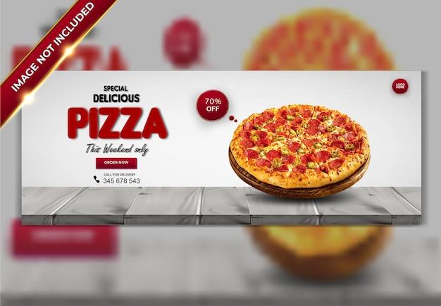 Diseño de plantilla de portada de facebook de menú de comida de pizza deliciosa de lujo