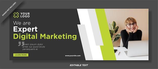 Diseño de plantilla de portada de facebook de seminario web de marketing digital