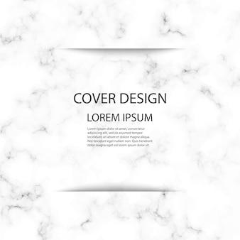 Diseño de plantilla de portada con fondo de mármol blanco y gris.