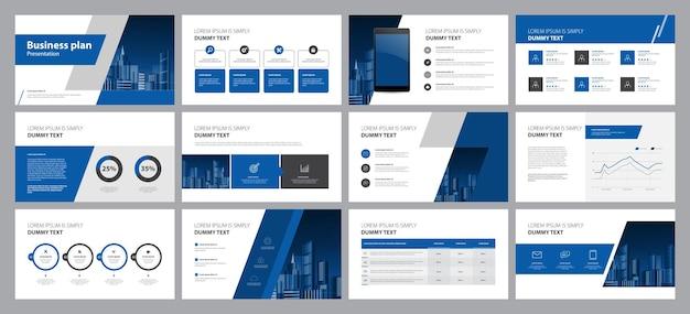 Diseño de plantilla con portada para el informe anual del perfil de la empresa.