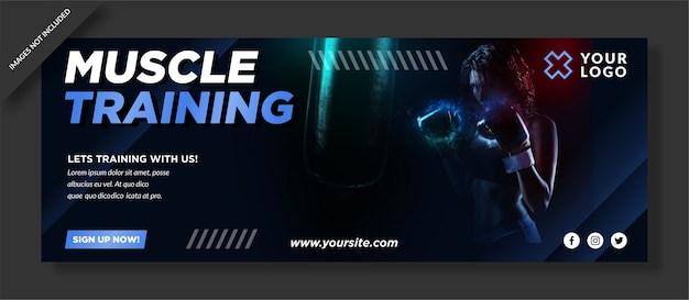 Diseño de plantilla de portada de redes sociales de entrenamiento muscular