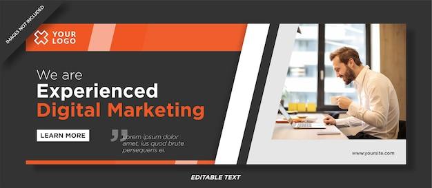 Diseño de plantilla de portada de redes sociales de marketing digital experto