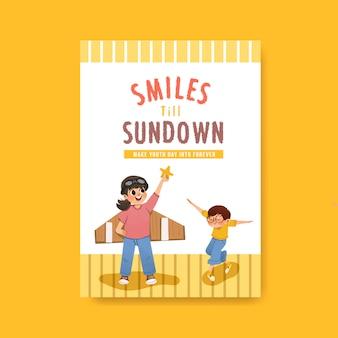 Diseño de plantilla de póster del día de la juventud para folleto y publicidad de acuarela