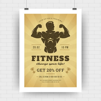Diseño de plantilla de póster de diseño para tipografía retro de evento deportivo, torneo o campeonato de fitness.