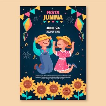 Diseño de plantilla de póster de festa junina