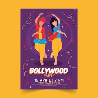 Diseño de plantilla de póster de fiesta de bollywood