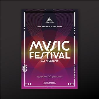 Diseño de plantilla de póster de música abstracta