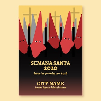 Diseño de plantilla de póster de semana santa