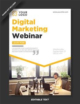 Diseño de plantilla de póster de seminario web de marketing digital