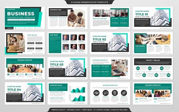 Diseño de plantilla de presentación de negocios con uso de estilo minimalista para la cartera de negocios y el informe anual.