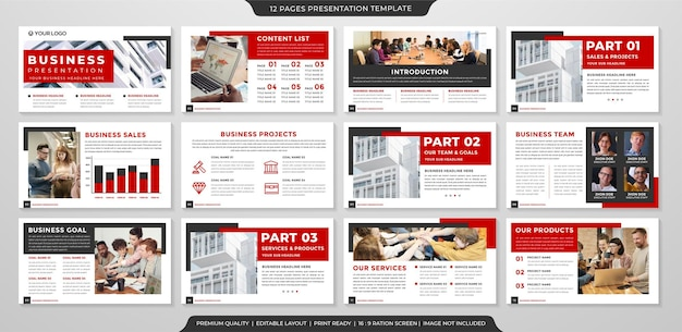 Diseño de plantilla de presentación con uso de estilo moderno y minimalista para infografía e informe anual.