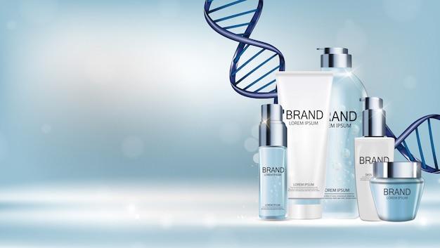 Diseño de plantilla de productos cosméticos para anuncios de fondo. ilustración realista del vector 3d