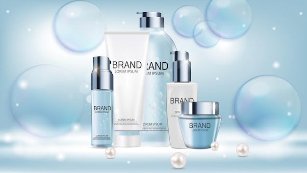 Diseño de plantilla de productos cosméticos para anuncios o fondo de revista. iillustration realista del vector 3d