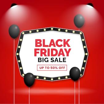 Diseño de plantilla de promoción de gran venta de viernes negro con letrero de cine y globos