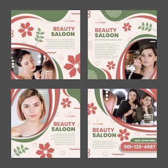 Diseño de plantilla de publicación de instagram de salón de belleza