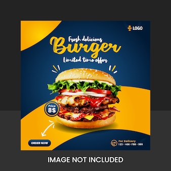 Diseño de plantilla de publicación de redes sociales de hamburguesa deliciosa fresca