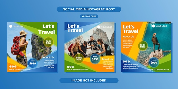 Diseño de plantilla de publicación de redes sociales de viaje de vacaciones