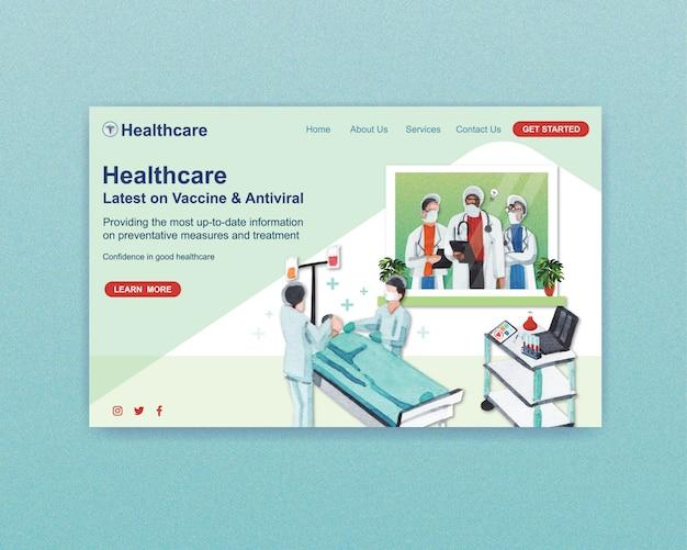 Diseño de plantilla de sitio web de atención médica con personal médico y médicos y pacientes