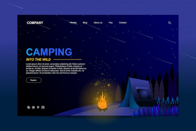 Diseño de plantilla de sitio web en concepto de camping de verano