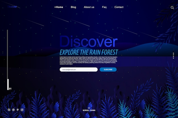 Diseño de plantilla de sitio web en concepto de fantasía de jardín