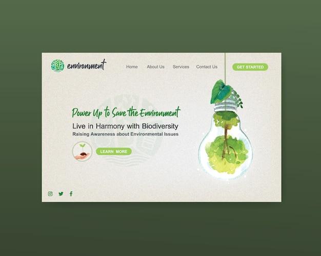 Diseño de plantilla de sitio web para el día mundial del medio ambiente. guarde el vector de acuarela de earth planet world concept