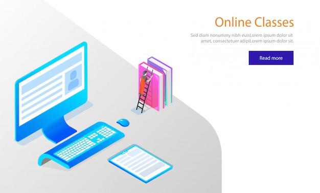 Diseño de plantilla de sitio web, escritorio isométrico con libros.
