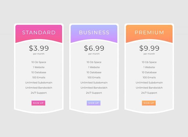 Diseño de plantilla de tabla de precios