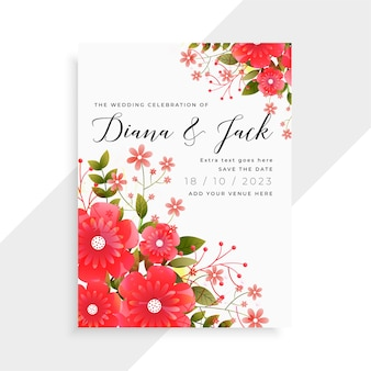 Diseño de plantilla de tarjeta de boda hermosa flor roja
