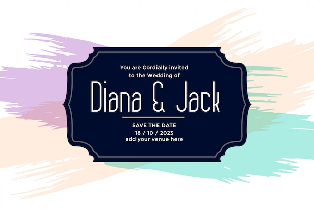 Diseño de plantilla de tarjeta de boda con pinceladas de color pastel