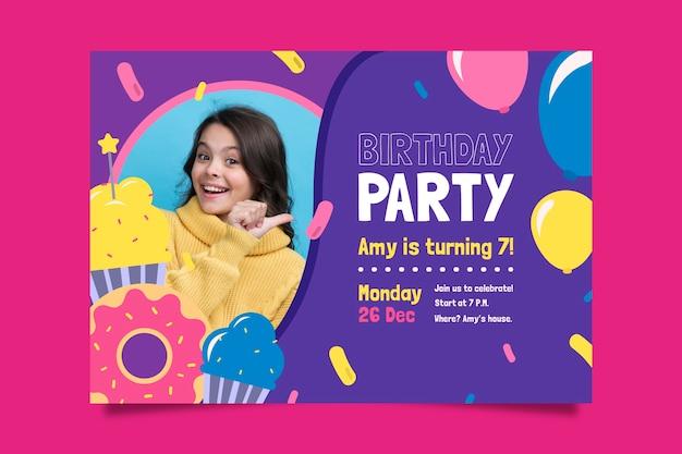 Diseño de plantilla de tarjeta de cumpleaños para niños