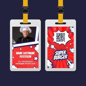 Diseño de plantilla de tarjeta de identificación de comida americana