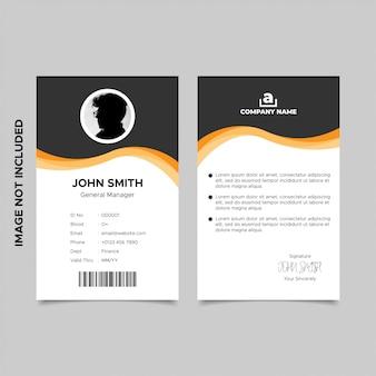 Diseño de plantilla de tarjeta de identificación de empleado negro naranja ondulado