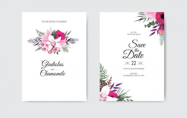 Diseño de plantilla de tarjeta de invitación de boda botánica, flores blancas y rosadas sobre fondo blanco.