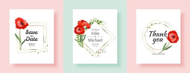 Diseño de plantilla de tarjeta de invitación de boda botánica, flores y hojas de amapola rojas y rosadas
