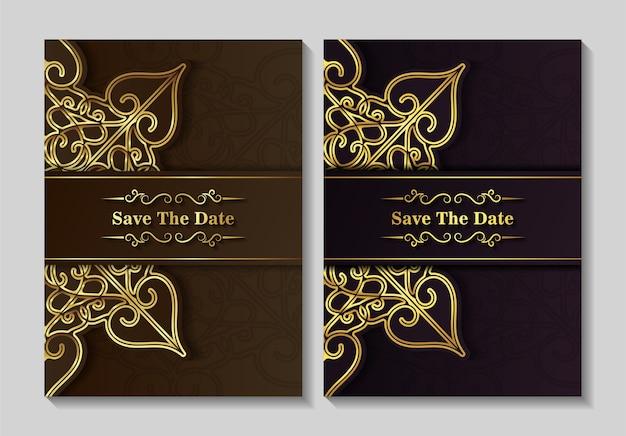 Diseño de plantilla de tarjeta de invitación de boda elegante mandala
