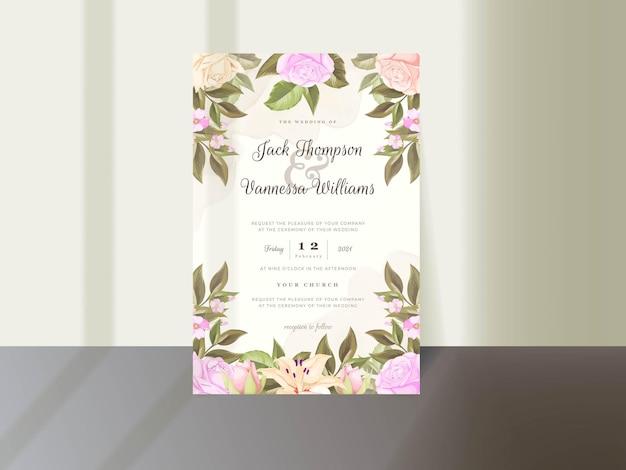 Diseño de plantilla de tarjeta de invitación de boda con flores