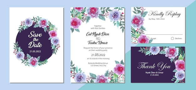 Diseño de plantilla de tarjeta de invitación de boda con fondo de acuarela de flores