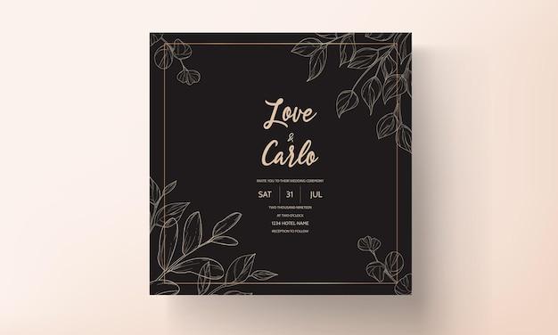 Diseño de plantilla de tarjeta de invitación de boda de hoja de oro