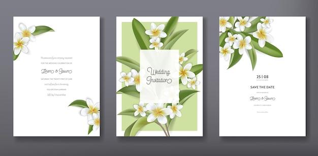 Diseño de plantilla de tarjeta de invitación de boda o saludo de moda tropical floral minimalista, conjunto de carteles, volantes, folletos, portadas, anuncios de fiestas, flores tropicales de plumeria en vector