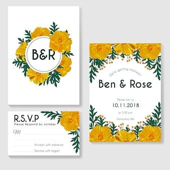 Diseño de plantilla de tarjeta de invitación, hojas verdes con flores amarillas sobre fondo blanco