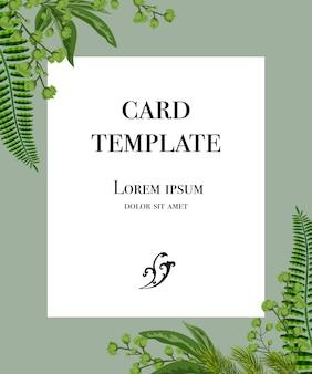 Diseño de plantilla de tarjeta con marco blanco y verde sobre fondo gris.