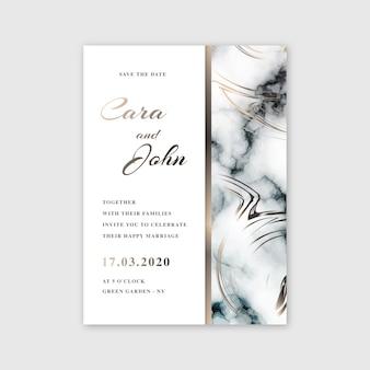 Diseño de plantilla de tarjeta de mármol de boda
